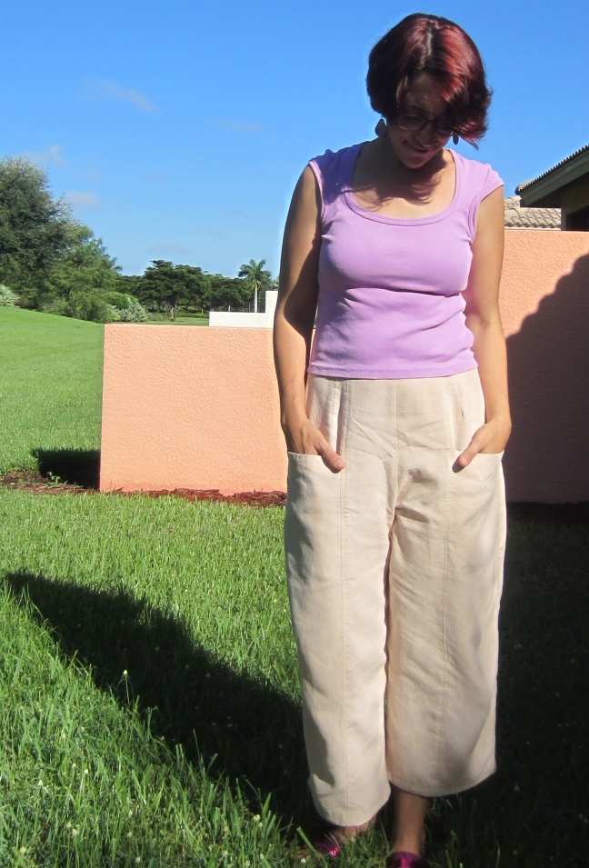 Marcy Tilton Pants, V8499, Avocado dyed hemp tencel twill