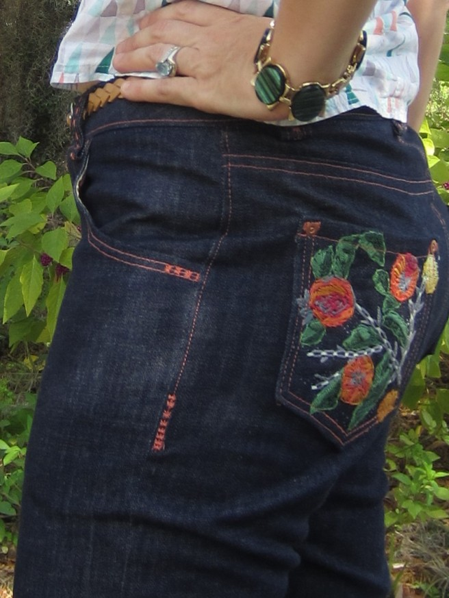 Organic Denim Keans with hand embroidered pockets, Sew Pomona
