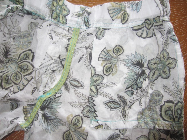 interior detail: front fly binding and side pocket with french seams